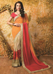 Orange & Pink Color Georgette Kitty Party Sarees : Vishaliya Collection  YF-53398