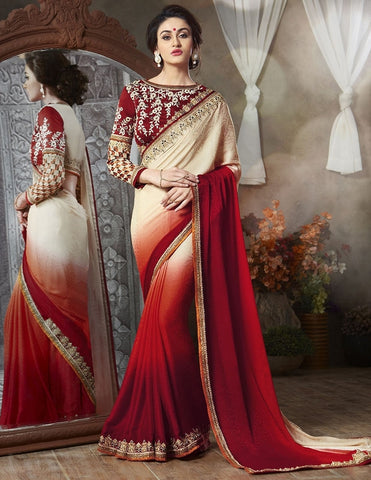 Light Coffee, Orange & Red Color Satin Georgette Jacquard Function & Party Sarees : Mahir Collection  YF-31557