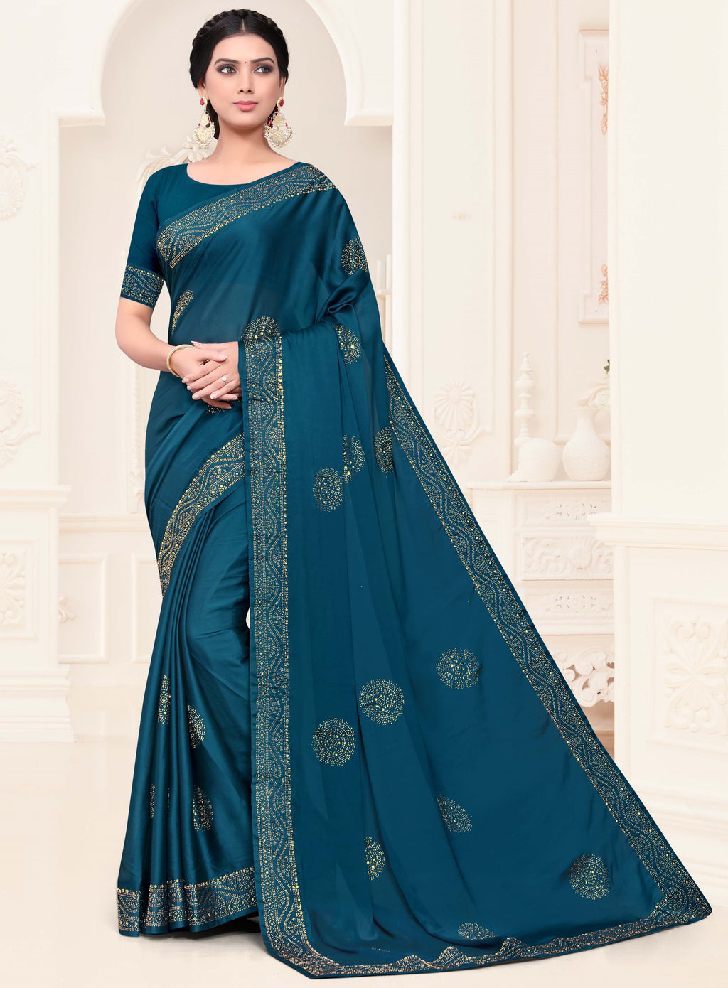 Blue Color Georgette Trendy Designer Sarees NYF-4204 - YellowFashion.in