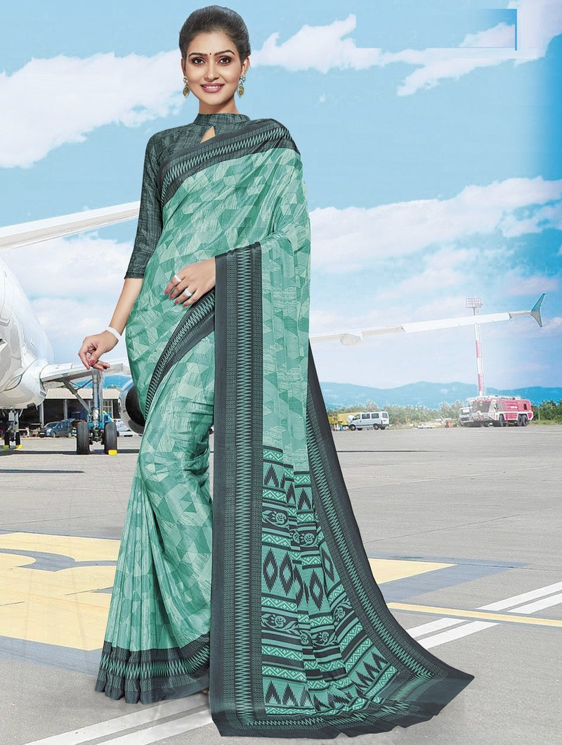 Sea Green Color Crepe Printed Office Wear Sarees NYF-7892
