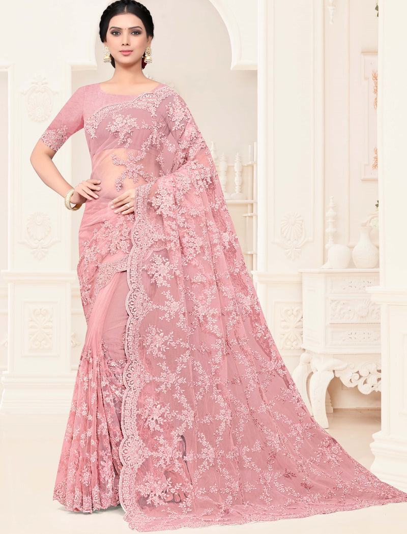Pink Color Net Trendy Designer Sarees NYF-4198 - YellowFashion.in