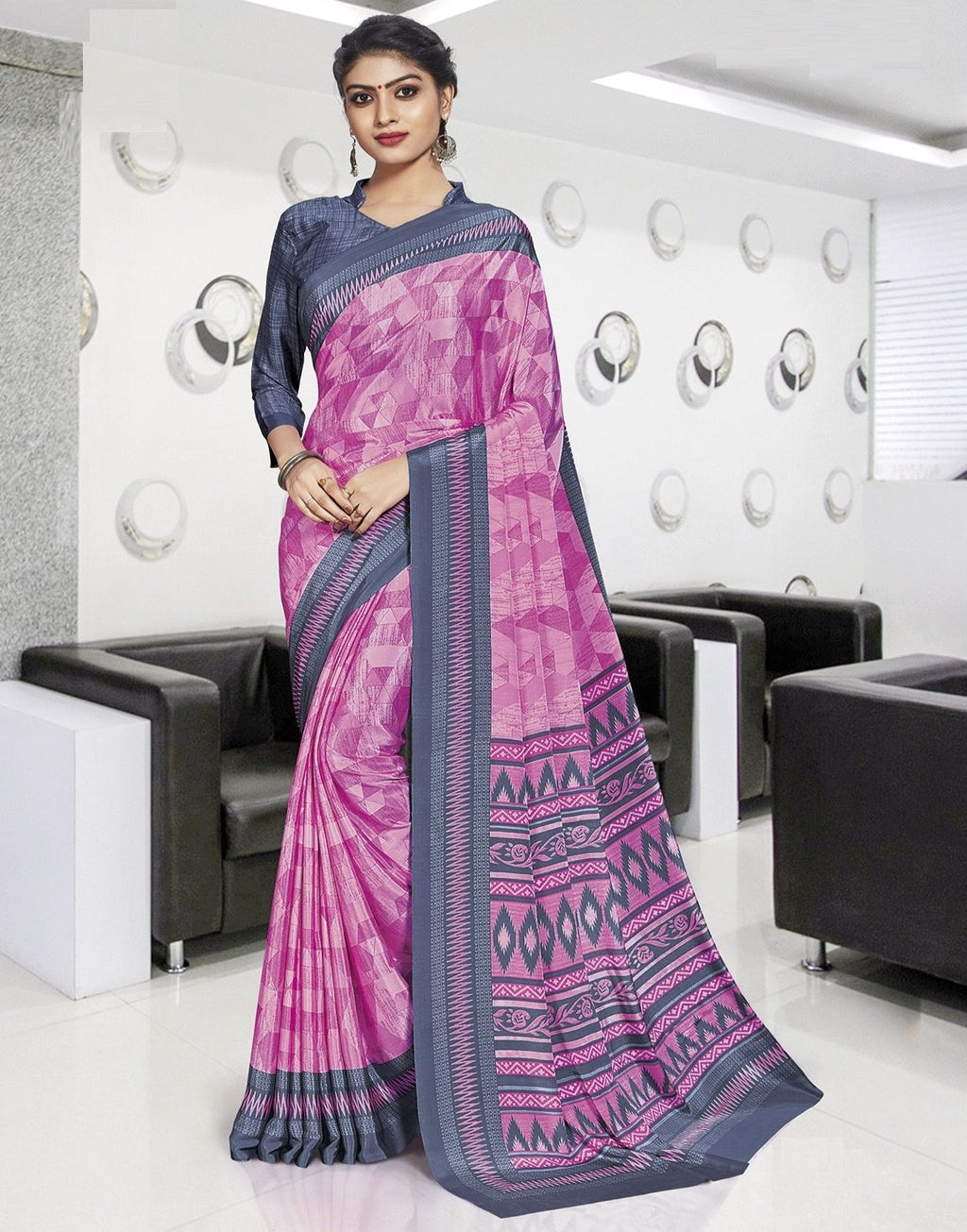 Pink Color Crepe Printed Office Wear Sarees NYF-7893