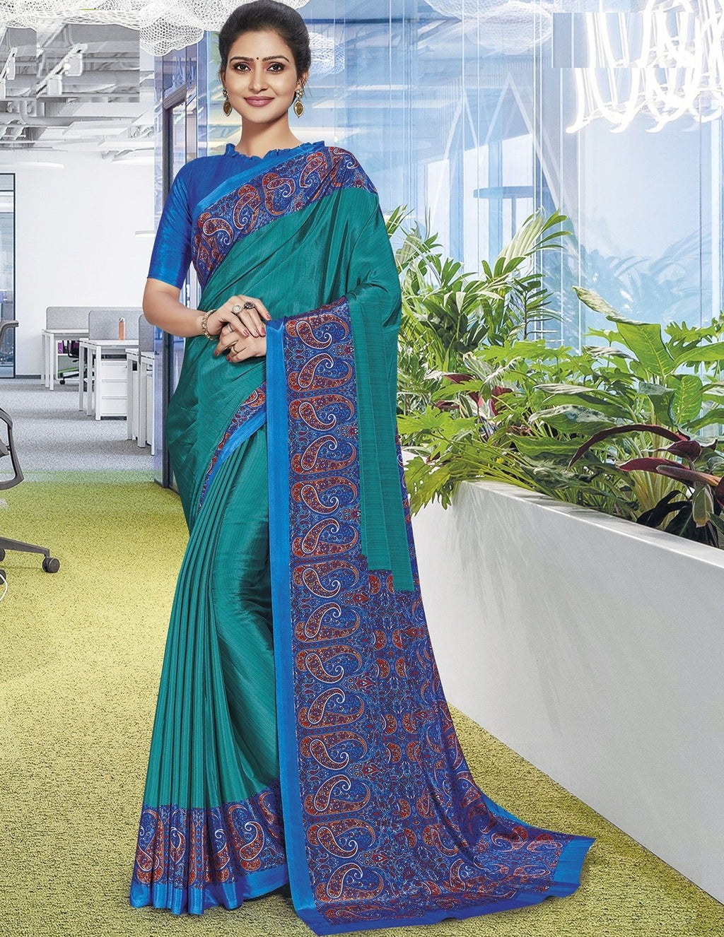 Rama Green Color Crepe Printed Office Wear Sarees NYF-7894