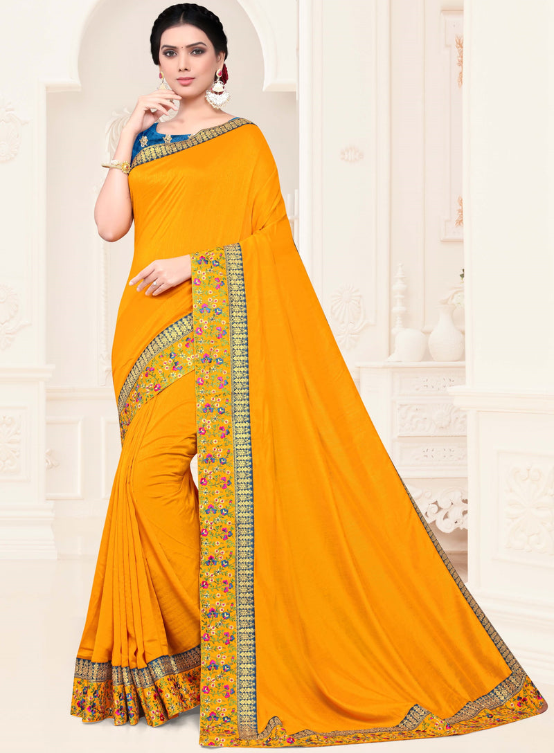 Yellow Color Silk Trendy Designer Sarees NYF-4209 - YellowFashion.in