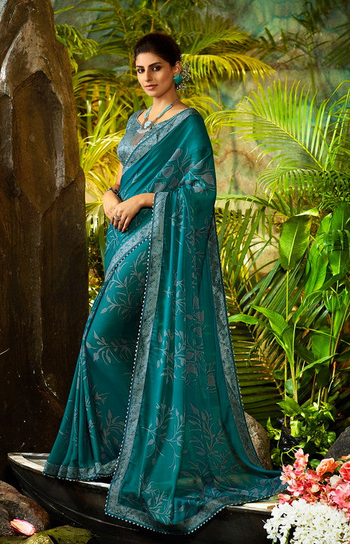 Rama Blue Color Georgette Casual Wear Saree-  Orchid Collection  YF#11469