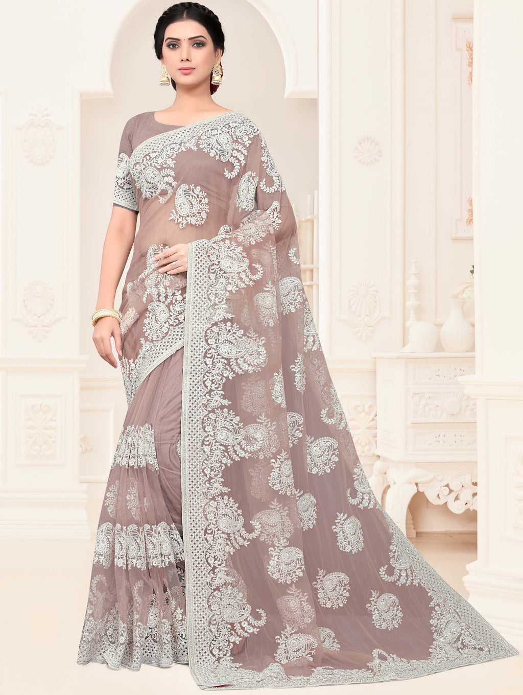 Lavender Color Net Trendy Designer Sarees NYF-4199 - YellowFashion.in