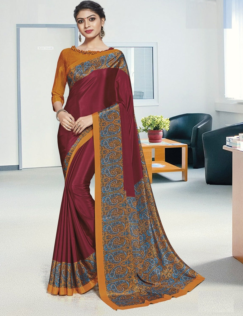 Maroon Color Crepe Printed Office Wear Sarees NYF-7895