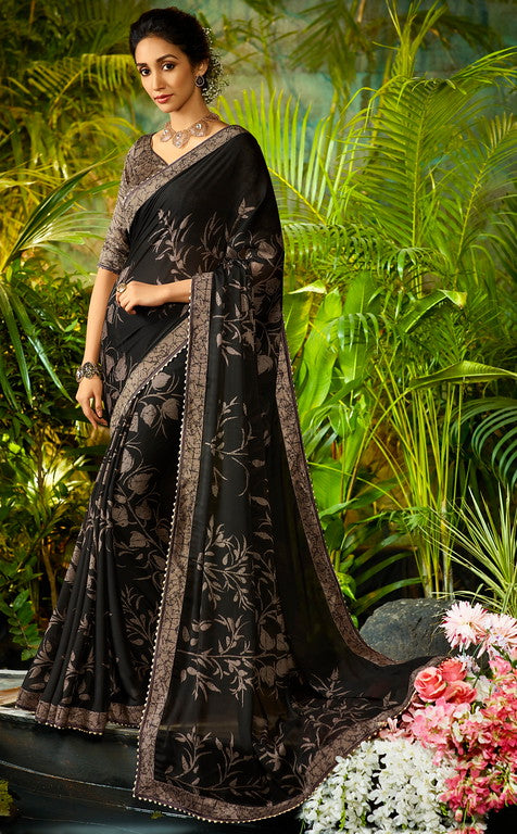 Black Color Georgette Casual Wear Saree-  Orchid Collection  YF#11470