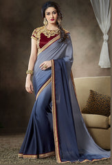 Grey & Blue Color Satin Georgette Function & Party Sarees : Mahir Collection  YF-31561