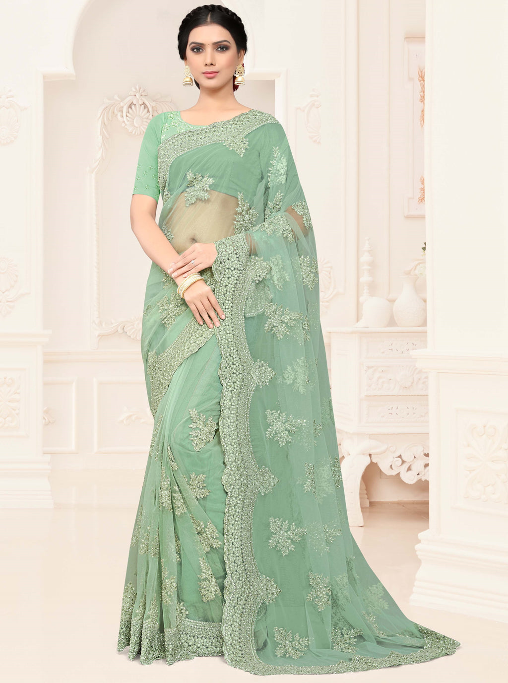 Sea Green Color Net Trendy Designer Sarees NYF-4207 - YellowFashion.in
