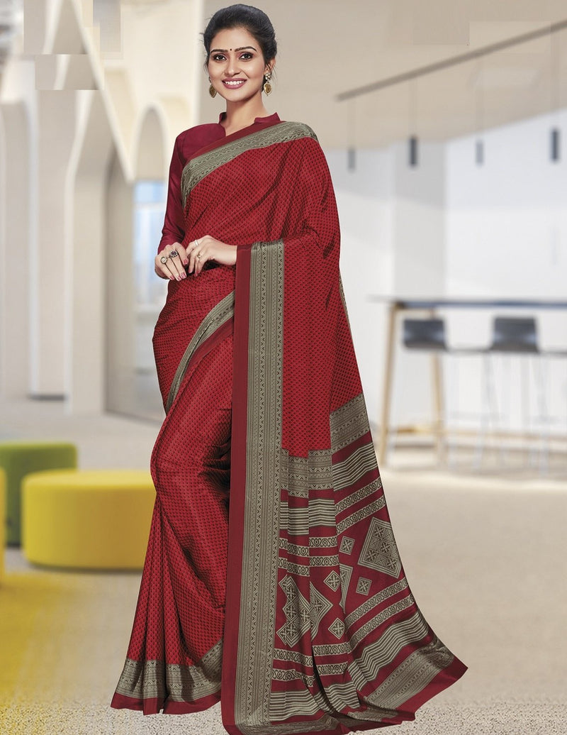 Red Color Crepe Printed Office Wear Sarees NYF-7896