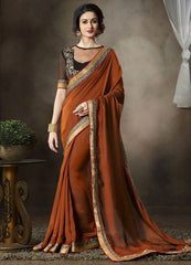 Shades of Copper Color Satin Georgette Function & Party Sarees : Mahir Collection  YF-31563