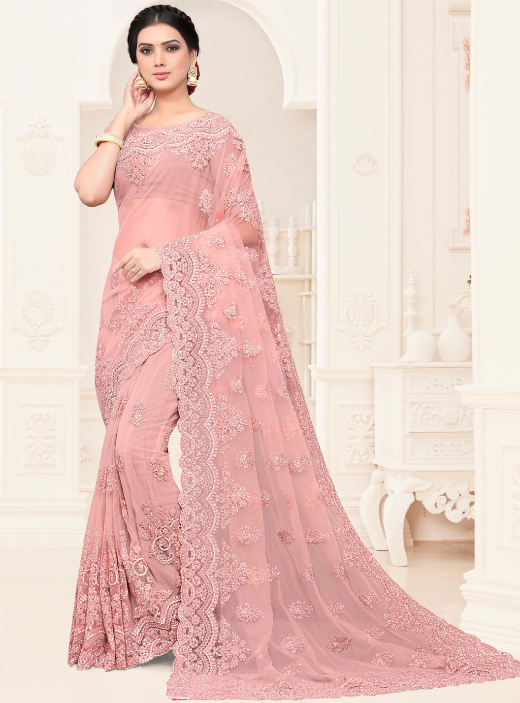 Pink Color Net Trendy Designer Sarees NYF-4206 - YellowFashion.in