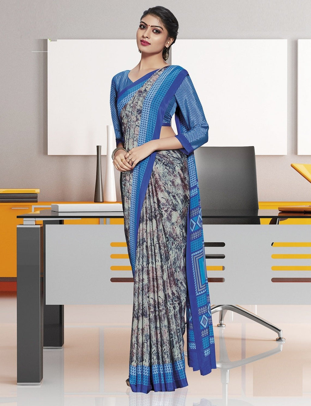 Grey Color Crepe Printed Office Wear Sarees NYF-7897