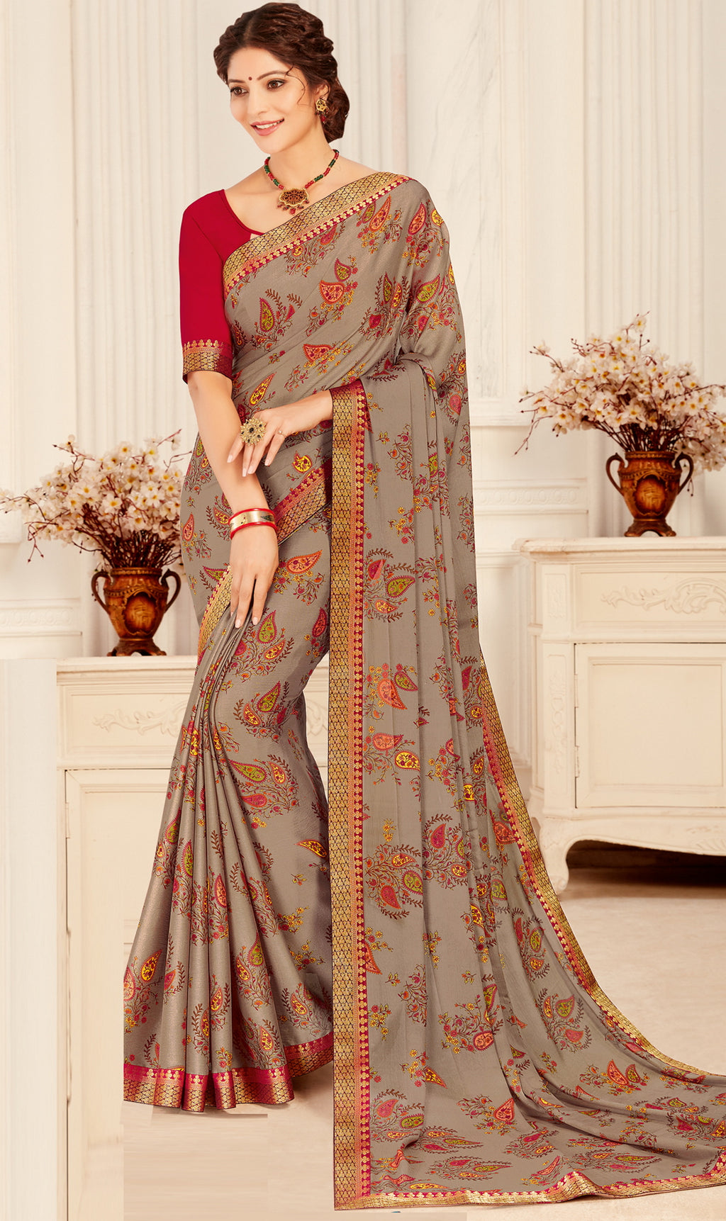 Multi Color Crepe Georgette Trendy Casual Party Sarees NYF-6348