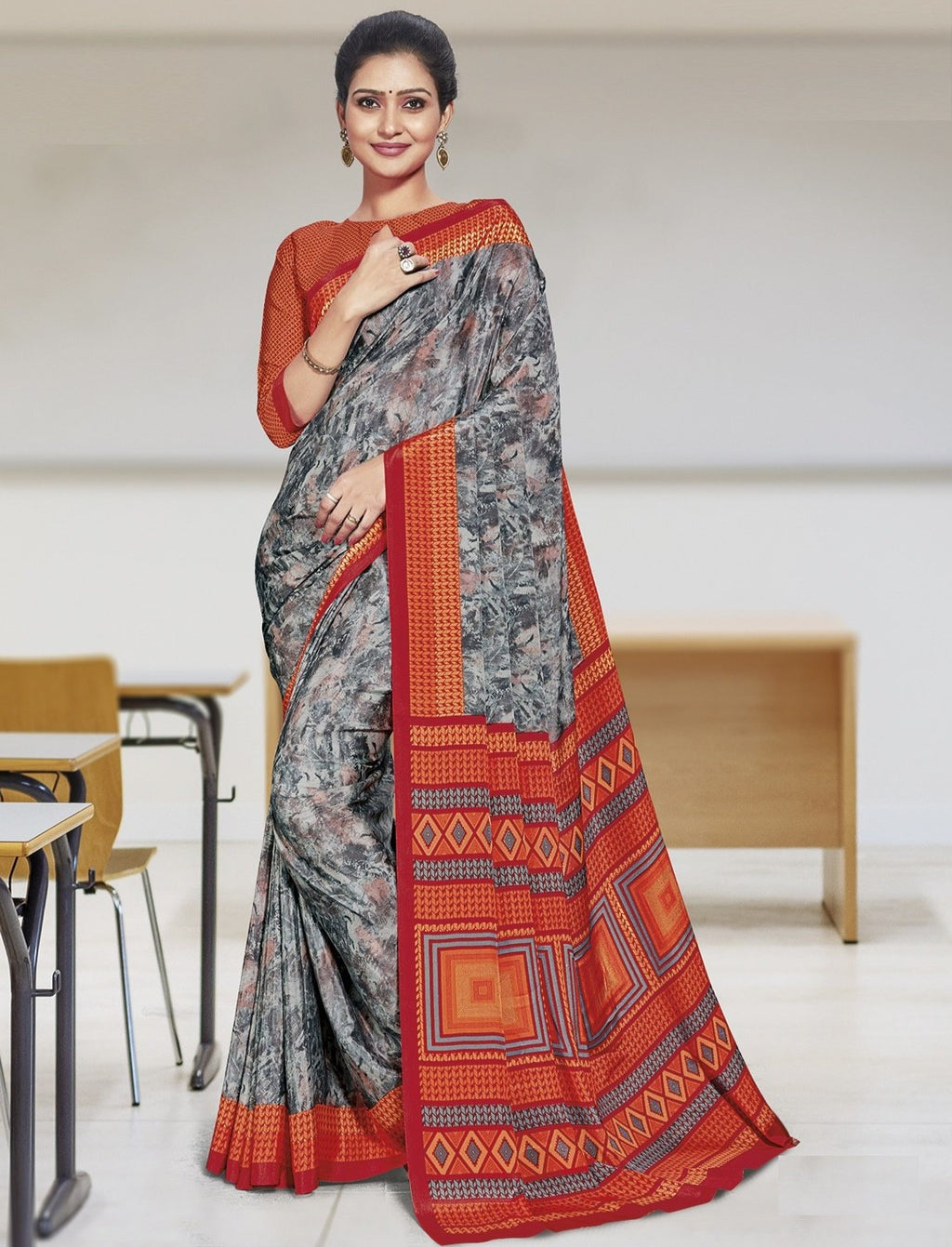 Grey Color Crepe Printed Office Wear Sarees NYF-7898