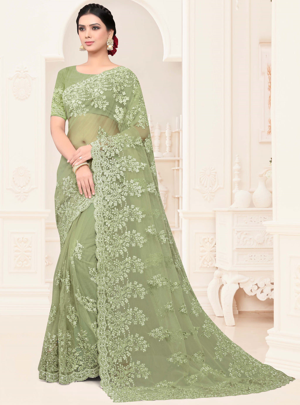 Green Color Net Trendy Designer Sarees NYF-4200 - YellowFashion.in