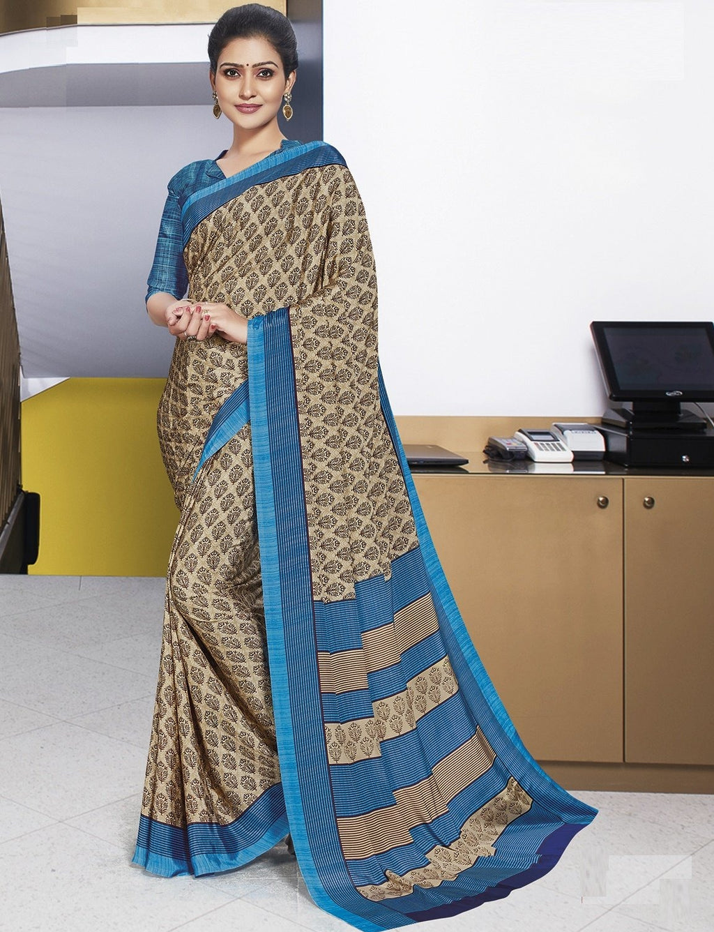 Beige Color Crepe Printed Office Wear Sarees NYF-7899
