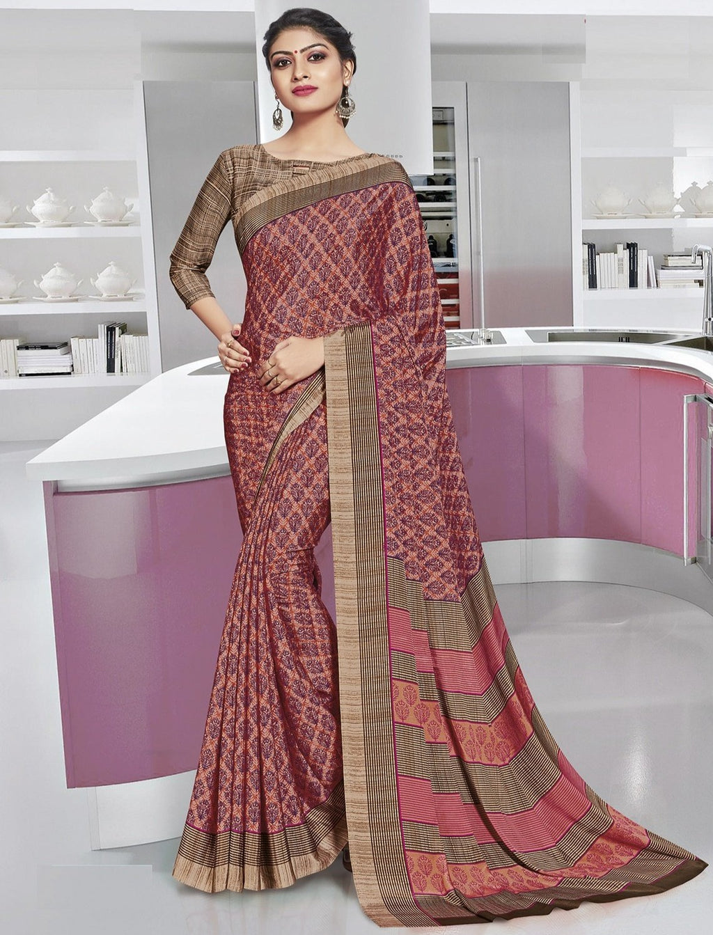 Peach Color Crepe Printed Office Wear Sarees NYF-7900