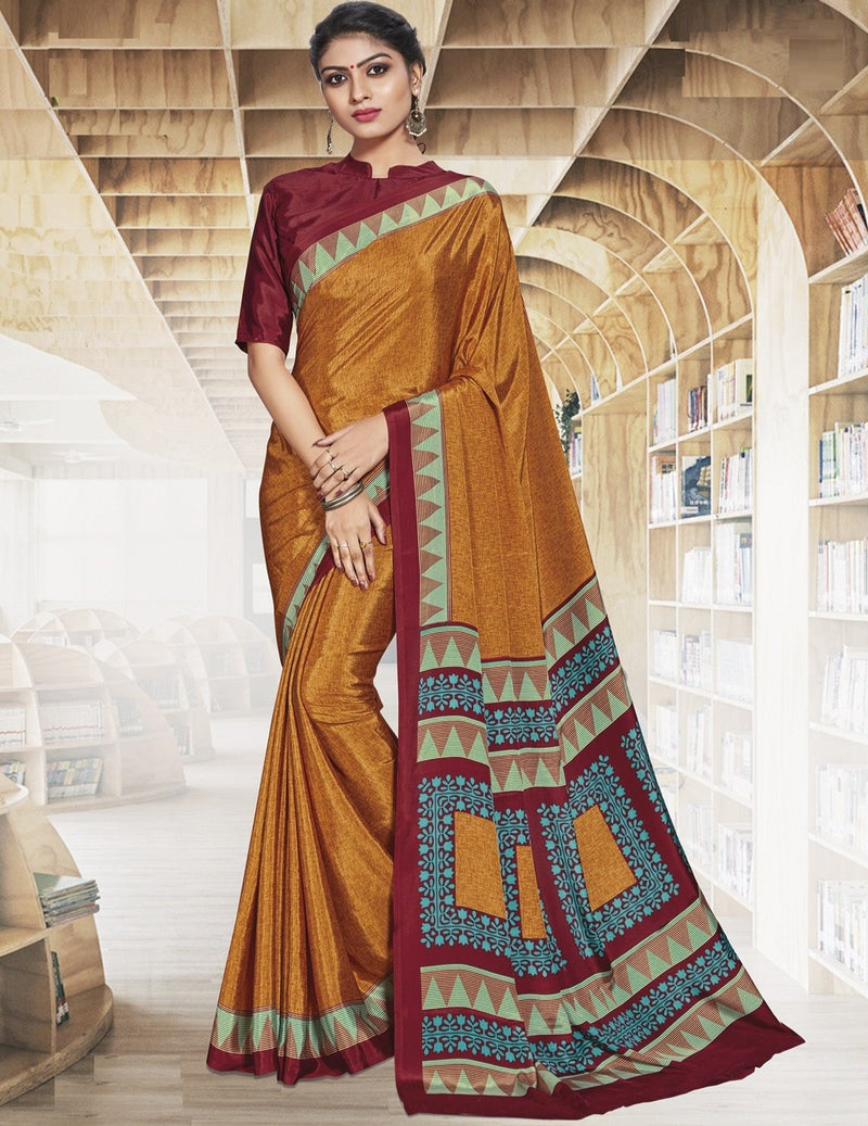 Yellow Color Crepe Printed Office Wear Sarees NYF-7901