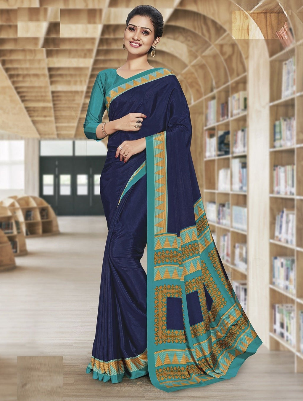 Blue Color Crepe Printed Office Wear Sarees NYF-7902