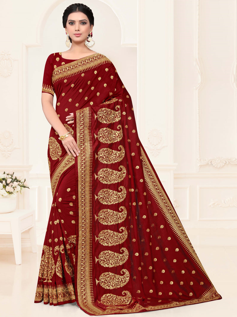 Maroon Color Silk Trendy Designer Sarees NYF-4208 - YellowFashion.in