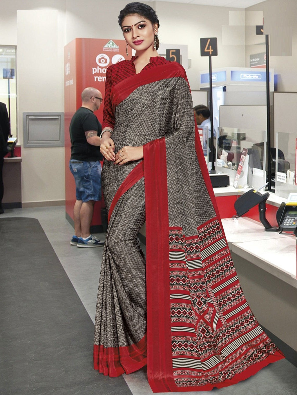 Grey Color Crepe Printed Office Wear Sarees NYF-7903