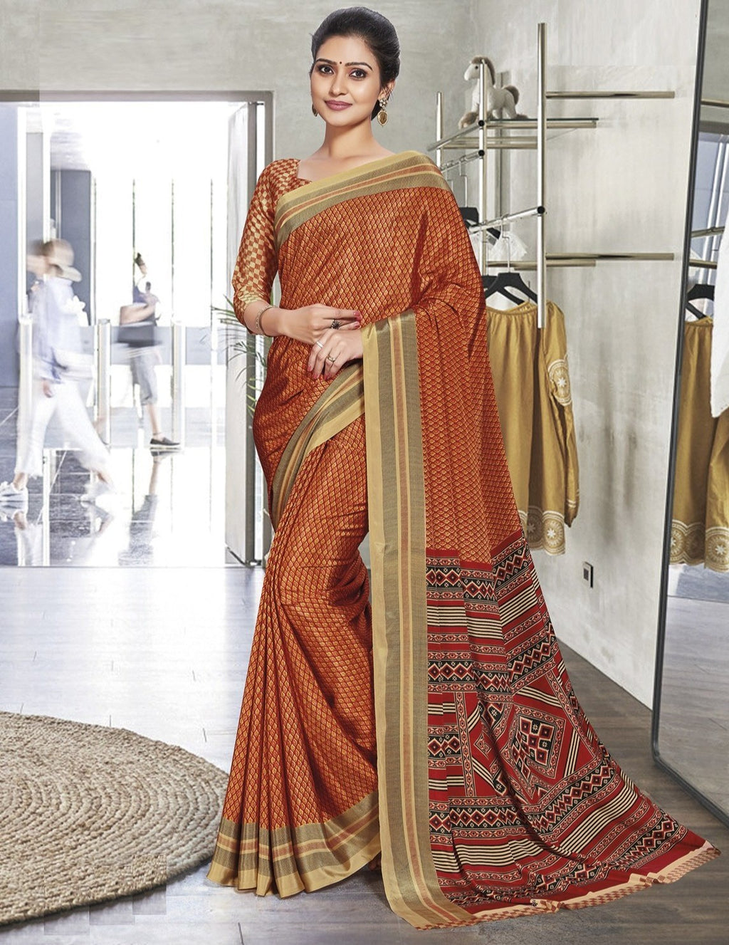 Orange Color Crepe Printed Office Wear Sarees NYF-7904