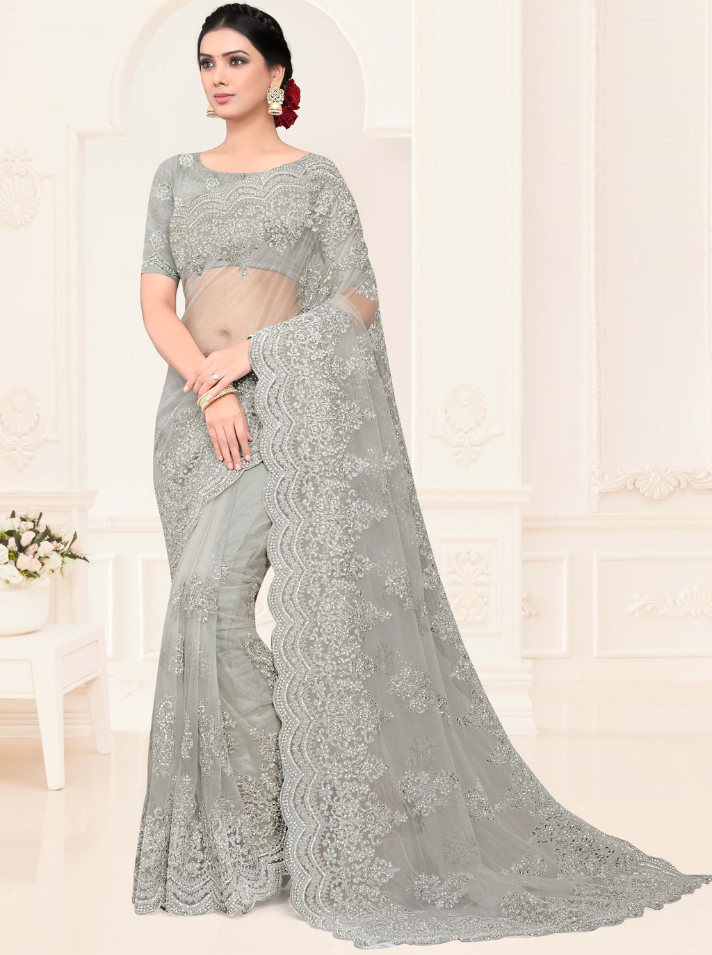 Grey Color Net Trendy Designer Sarees NYF-4202 - YellowFashion.in