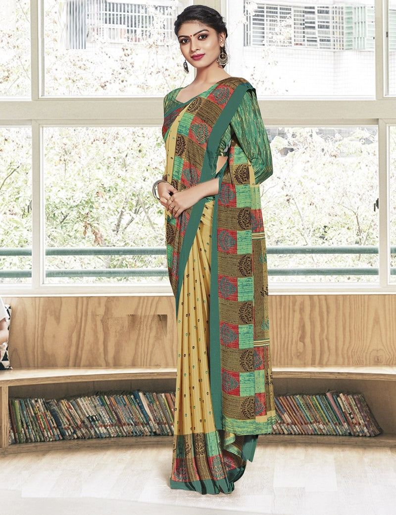 Light Yellow Color Crepe Printed Office Wear Sarees NYF-7905