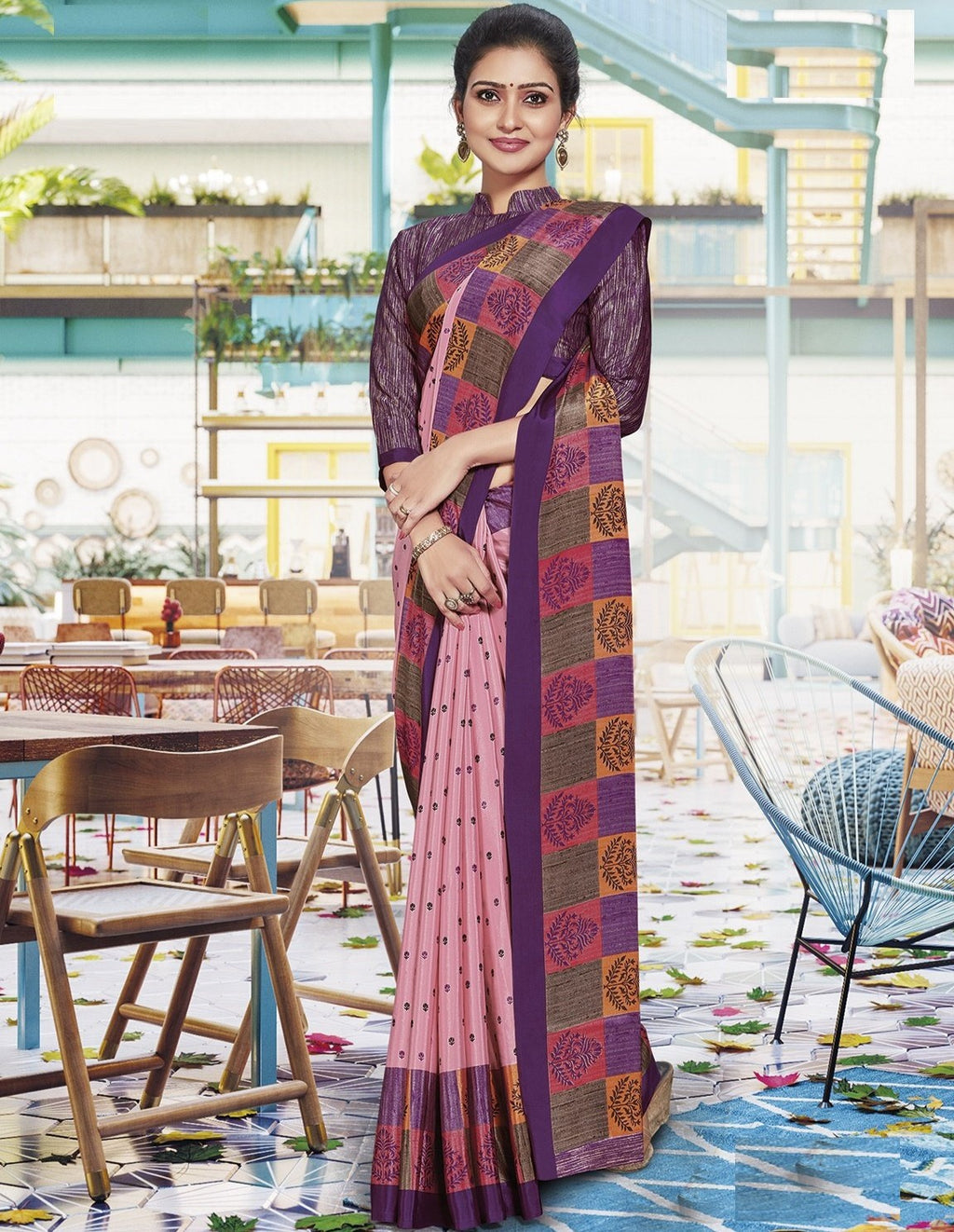 Pink Color Crepe Printed Office Wear Sarees NYF-7906
