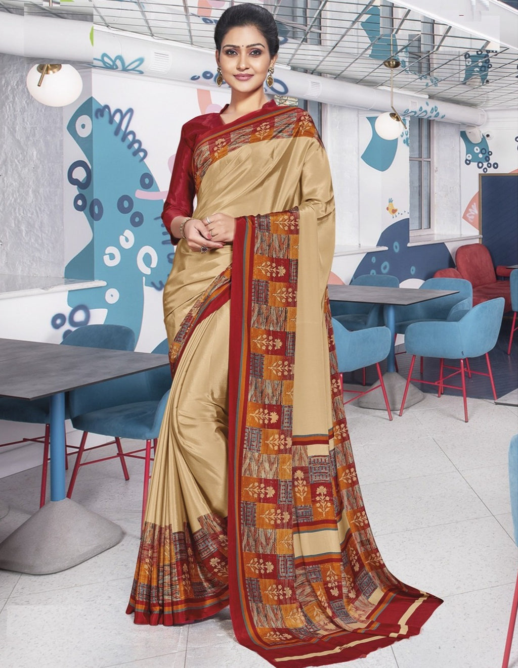 Light Coffee Color Crepe Printed Office Wear Sarees NYF-7907