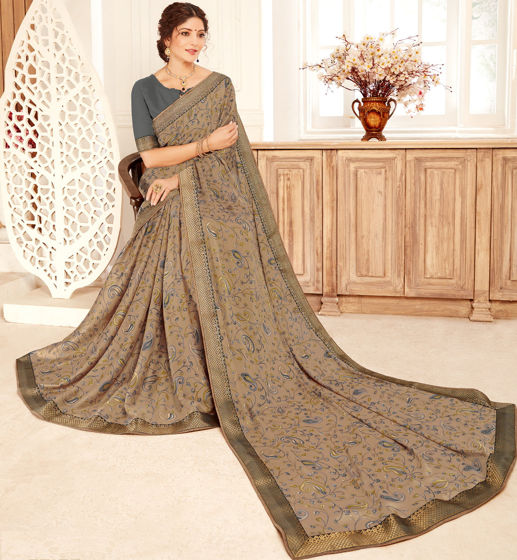 Beige Color Georgette Trendy Casual Party Sarees NYF-6349