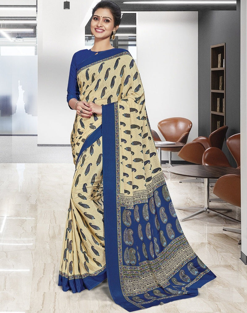 Cream Color Crepe Printed Office Wear Sarees NYF-7909