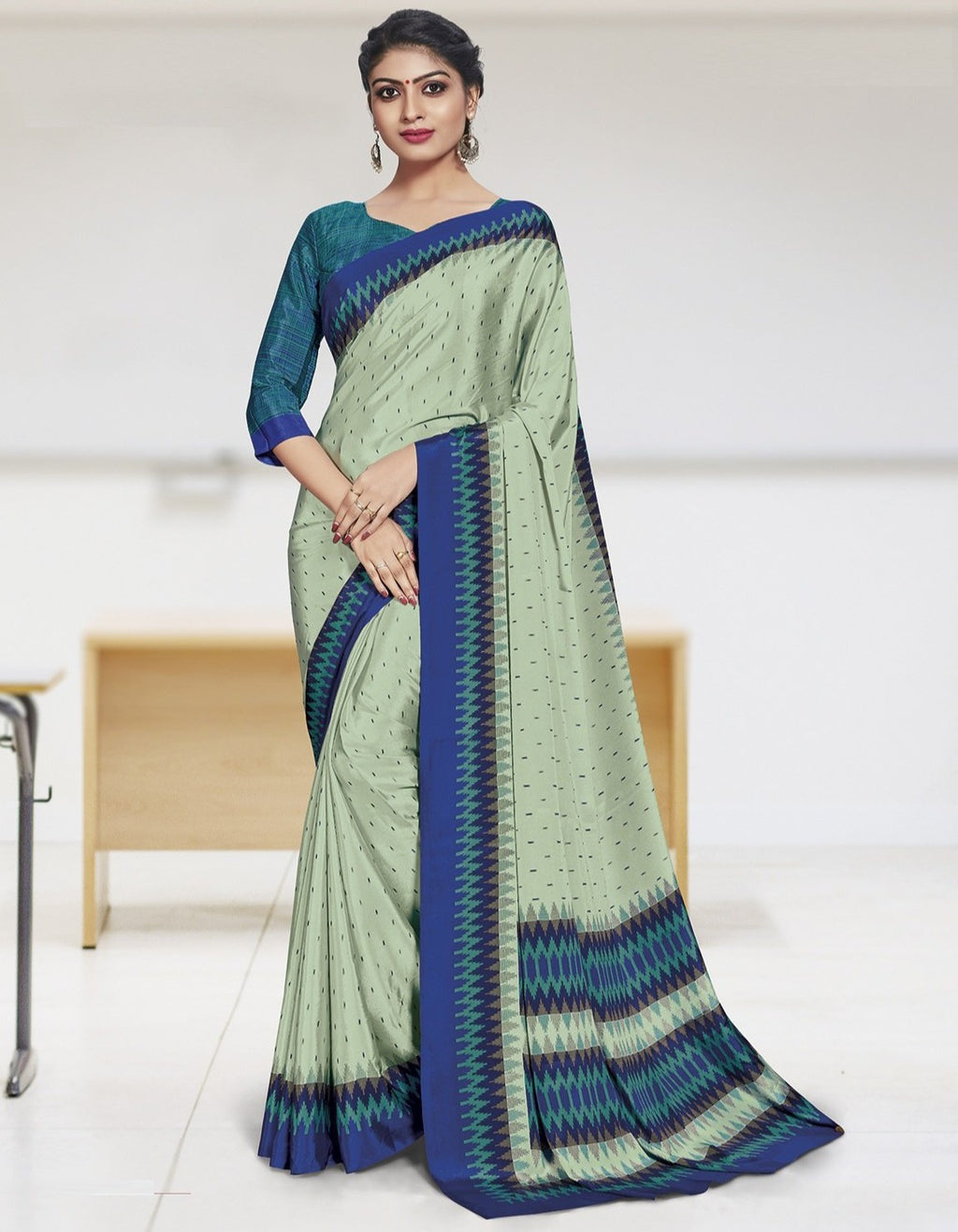 Aqua Green Color Crepe Printed Office Wear Sarees NYF-7911