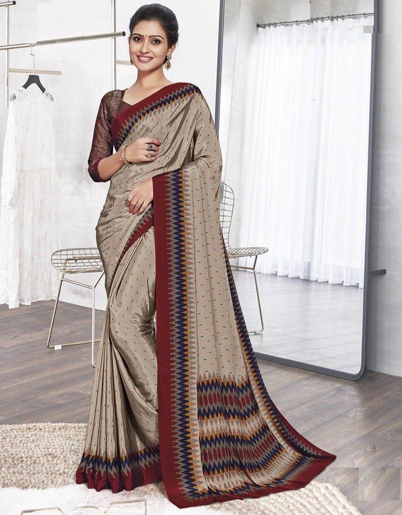 Mud Color Crepe Printed Office Wear Sarees NYF-7912