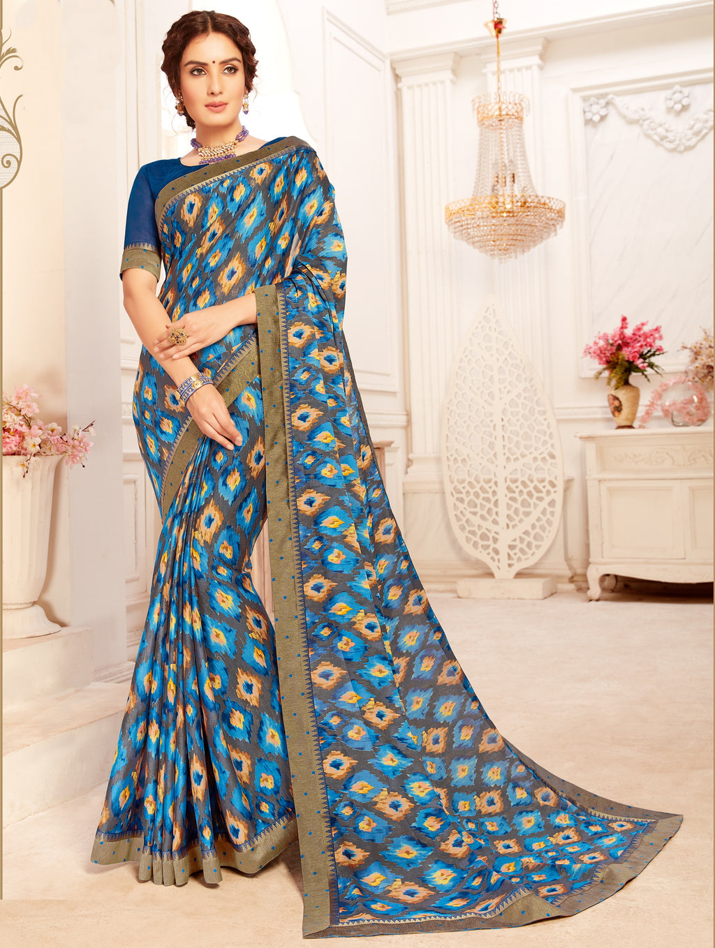 Blue Color Georgette Trendy Casual Party Sarees NYF-6351