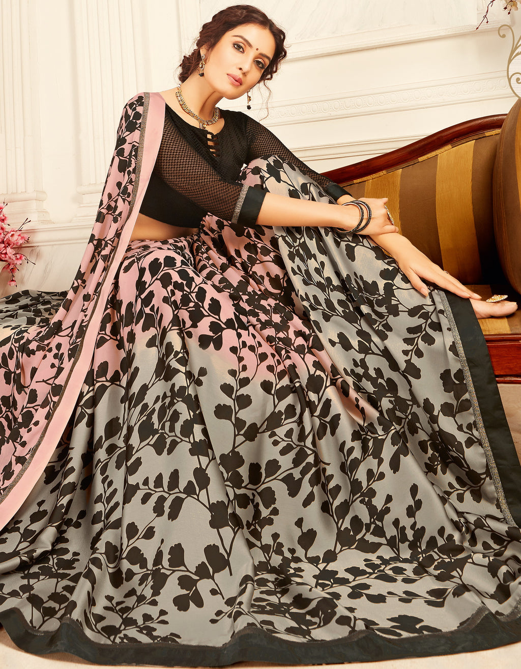 Pink & Grey Color Crepe Trendy Casual Party Sarees NYF-6352