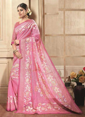 Pink Color Bhagalpuri Cotton Festival & Party Wear Sarees : Videha Collection  YF-46451
