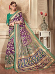 Purple Color Bhagalpuri Cotton Festival & Party Wear Sarees : Videha Collection  YF-46455