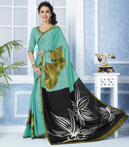 Black & Rama Green Color Jacquard Crepe Casual Wear Sarees : Devrika Collection  YF-30083