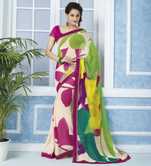 Pink & Green Color Georgette Casual Wear Sarees : Devrika Collection  YF-30095