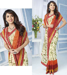 Mehendi Green & Red Color Georgette Casual Wear Sarees : Devrika Collection  YF-30097