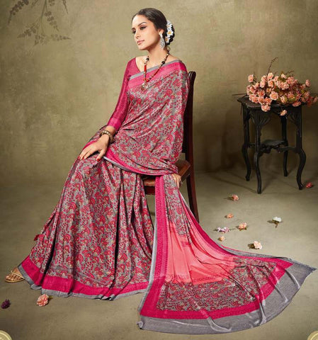 Grey & Pink Color Crepe Office Wear Sarees : Virtika Collection  YF-46905