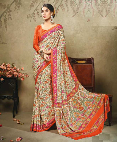 Cream, Orange & Pink Color Crepe Office Wear Sarees : Virtika Collection  YF-46907