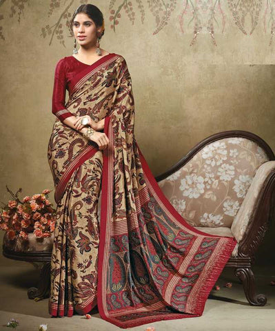 Light Coffee & Maroon Color Crepe Office Wear Sarees : Virtika Collection  YF-46911