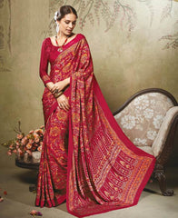 Pink Color Crepe Office Wear Sarees : Virtika Collection  YF-46914