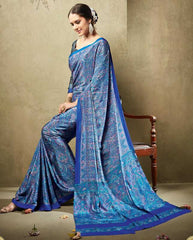 Blue Color Crepe Office Wear Sarees : Virtika Collection  YF-46916