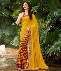 Mustard Yellow & Maroon Color Georgette Casual Party Sarees : Sukheri Collection  YF-31386