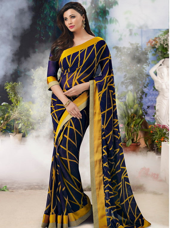 Blue and Yellow Color Georgette Casual Wear Saree-Jiana Collection  YF#10508
